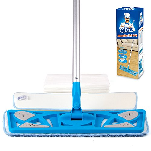MR. SIGA Microfiber Flat Mop (Included 2 Microfiber Refills and 6 Dry Cloths) - Pad Size 43 x 21cm Mr Clean Mop