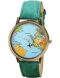 SMARTLADY Mujer Relojes De Mapa Global De Viajes En AvióN PatróN