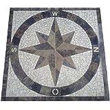 granit rosone 120x120 cm f r drau en windrose mosaik einleger schwarz weiss. Black Bedroom Furniture Sets. Home Design Ideas