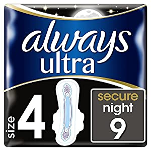 Always Ultra Secure Night Sanitary Towels with Wings, 9 Pads Pantry