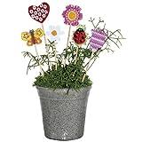 Geschenkidee Muttertagsgeschenke basteln, selber machen / DIY zum Muttertag - Blumenstecker Holz Braun-Beige zum Basteln und Bemalen