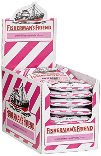Menthol Mit Zucker (Fisherman's Friend Raspberry | Karton mit 24 Beuteln | Himbeere und Menthol Geschmack | Zuckerfrei für frischen Atem)