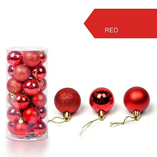 Berrose-1 Fässer mit 24 Weihnachtskugeln Weihnachtskugeldekoration Weihnachtsbaum Dekorativer Ball 30mm Weihnachtsweihnachtsbaum-Kugel-Flitter, die nach Hause Partei-Verzierungs-Dekor hängen