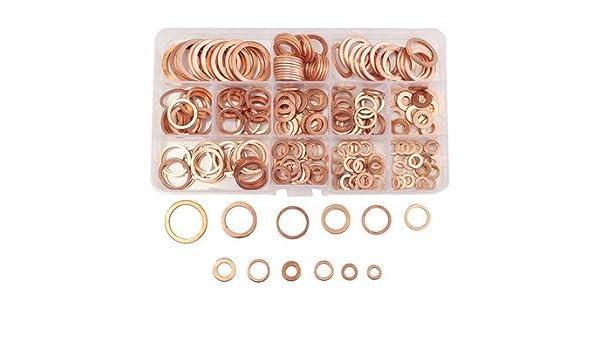280Pcs Assortment Copper Washers Sump Plug Set Kit with Plastic Box Kit 12 Sizes