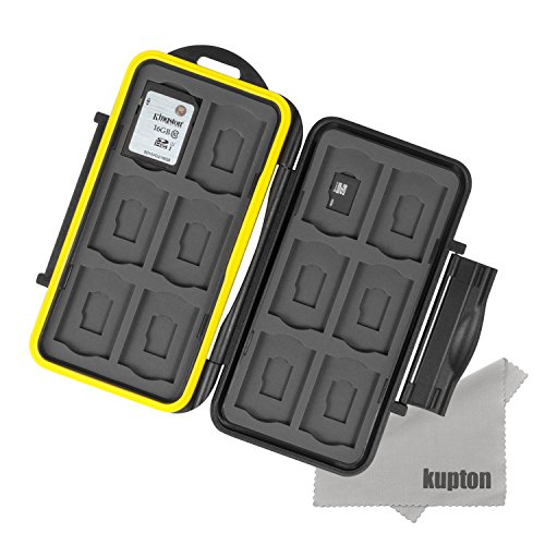 Kupton k020 astuccio porta schede di memoria custodia resistente all'acqua porta schede di memoria protettivo antiurto: 24 slots per 12 sdhc/sdxc card e per 12 micro sd card