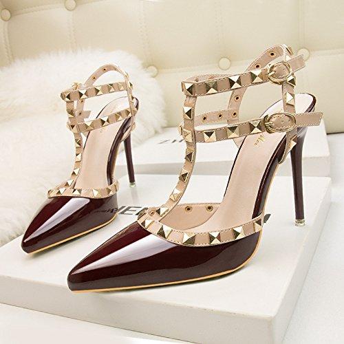 Discoteca scarpe con i tacchi alti in Europa e gli Stati Uniti sexy night club tacchi alti rivetto metallico sexy night club Roma scarpe scarpe donna scarpe Martin Red wine