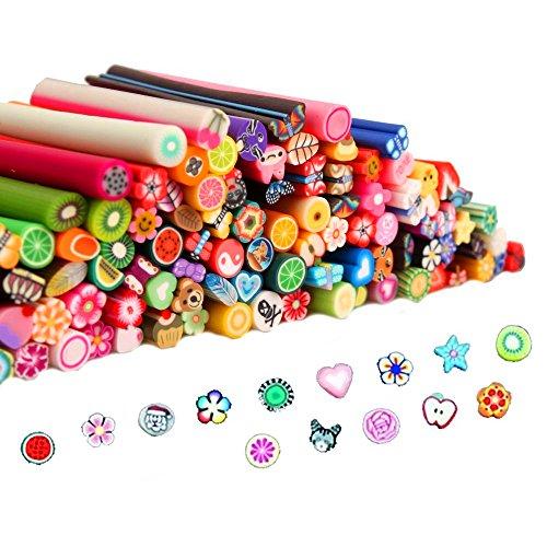 100 pz unghie Nail Art Manicure 3D Design Fimo canne bastoni barre adesivi Gel Tips - Fimo Canne