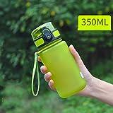 LZ Gran capacidad botella de deportes al aire libre de la mano de la mano de la taza de los estudiantes masculinos y femeninos niños a prueba de fugas Copa Taza de plástico taza (Color : Green 350ML)