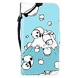 Sunrive Hülle Für HTC Desire 12, Magnetisch Schaltfläche Ledertasche Schutzhülle Etui Leder Case Cover Handyhülle Taschen Schalen Lederhülle(Panda 1)+Gratis Eingabestift