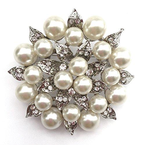 Kostüm Billig Broschen - Unbekannt Wunderschöne Braut Perlen Strass Kristall Brosche Rund Silber 5,5 cm (BR011)