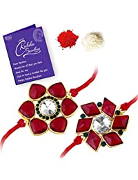 Sukkhi Exquisite Gold Plated Floral Rakhi Set Combo (Set of 2 ) with Roli Chawal and Raksha Bandhan Greeting Card For Men