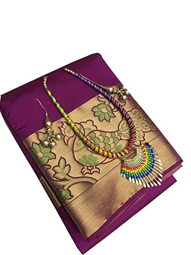 Clickedia Women\'s Tusser Silk Saree With Blouse Piece_Purple_Free Size