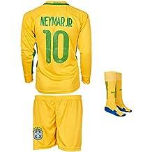 Brasilien Euro 16 # 10 Neymar Heim - Kinder Langarm Trikot und Hose mit professionellen Socken