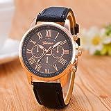 #10: CLWD Geneva Black Color Unisex Watches Roman Numerals Fau PU Leather Analog Quartz Women Men Casual Relogio Wrist Watch
