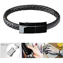 Bsolli pulsera cable de carga pulsera de pulsera trenzada de cuero portátil USB cable de iluminación de datos para iPhone, iPad, iPod (8.3 pulgadas, negro)