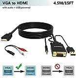 VGA zu HDMI Kabel 4.5M (Alter Stil PC Fernsehapparat/Monitor mit HDMI), FOINNEX VGA auf HDMI Konverter Kabel mit Audio für Das Anschließen des PC, Laptop mit Einem VGA zum Monitor