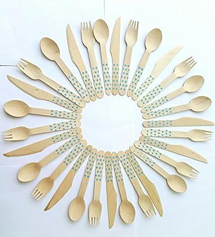 Kraftz® Lot de 30–en bois couvert jetable kit/table pour les fêtes–10fourchettes, 10cuillères, 10couteaux, 16cm de longueur avec motif étoiles