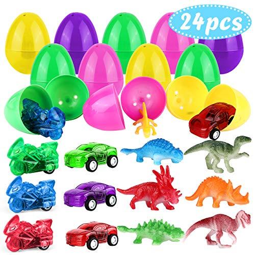 24x uova di pasqua, gifort giocattolo riempite con dinosauri e auto pull-back, decorazioni di plastica gusci di uovo contorto uovo di pasqua fai da te comodo e pratico, regalo per bambini per pasqua