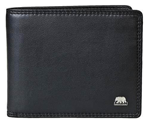 Brown Bear Geldbörse Herren Leder RFID Blocker Schutz Farbe Schwarz BB 103 bk Quer-Format Geldbeutel Männer Portemonnaie Portmonaise Portmonee Ledergeldbeutel Ledergeldbörse -