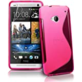 Htc One M7 (Pink) Soft Tpu Jelly Rubber Gel Skin Case Cover Plus Screen Protector & Cleaning Cloth
