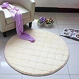 QHGstore Round Computer Chair Rug Carpet Comfy Mat Bedroom Living Room Floor Carpet beige 50*50cm