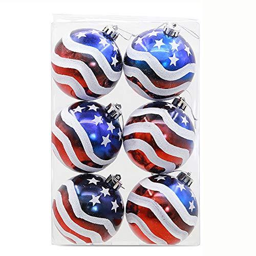 (8cm Welle amerikanische Flagge gemalt Weihnachtskugel Ornament 1 Kasten (6) Weihnachtsbaum Dekorative Elemente Fügen Sie Weihnachten eine Festliche Atmosphäre hinzu)