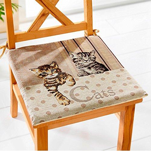 Sitzkissen 'Cats' , Stuhlkissen, ideal für Gartenbänke, Stühle oder einfach am Boden