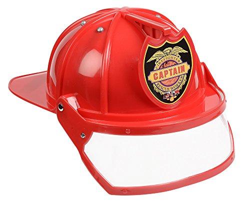 Fighter Helm Für Mit Erwachsene Fire Kostüm - Aeromax Firefighter Helmet with movable visor, RED, Adjustable Size by Aeromax