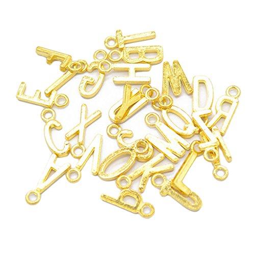 Homyl 26pcs Alphabet A-z Buchstaben DIY Halskette Anhänger für Schmuckherstellung - Gold