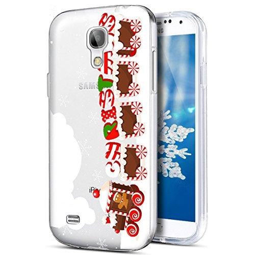 PHEZEN Galaxy S4Fall, Galaxy S4Cover Weihnachten, Samsung Galaxy S4Crystal Clear TPU Fall, Ultra Slim Soft Silikon Gel Haut Handytasche Schutzhülle für Samsung Galaxy S4 Christmas Train