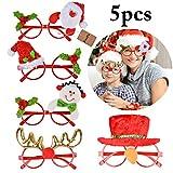 FunPa Weihnachten Brillengestell, 5 Stücke Weihnachten Brillen Weihnachtsmann Schnee Mann Deer Party Brillengestell -