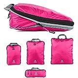 Outdoor Panda Packtaschen Set mit Kompression | Ultraleichte Packwürfel für Rucksack und Koffer | Wasserabweisende Compression Packing Cubes als Gepäck Organizer und Kleidertasche (Pink, XL)