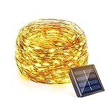 OMOTON 20M 200 LED Stringa Luci Solare Impermeabile, Catena Luminosa con Filo di Rame, Decorazione per Giardino, Casa, Albero di Natale, Giallo Caldo - Classe di Efficienza Energetica A +++