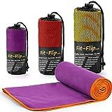 Fit-Flip Lila mit orangen Rand, 1x 140x70cm | Handtuch mikrofaser 70x140 Handtuch mikrofaser 40 Handtuch mikrofaser weinrot