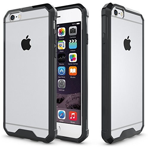 Meimeiwu Anti shock Cover TPU Soft Bumper Case + Transparente Acrylic Custodia Per iPhone 6 6S - Transparente Nero