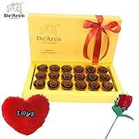 De'Arco Chocolatier Valentine gift for boy, Valentines Day Chocolates, Valentines Day Gift Hamper, Premium Valentine Chocolate, 200g + FREE - Furr Heart and Rose