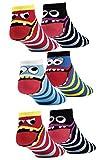 6 Paar Kinder Sneaker Socken Jungen und Mädchen handgekettelt Spitze Ohne Naht aus Weicher Baumwolle (35-38, Coole Sneaker)