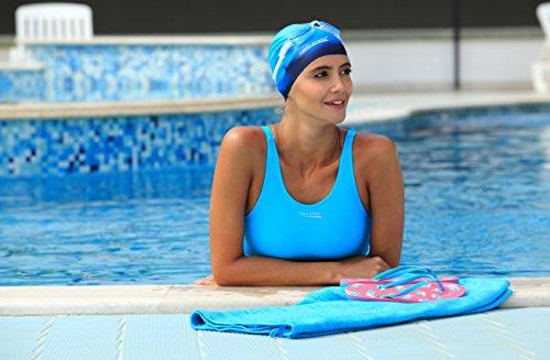 AQUA-SPEED® MAGGY Damen Badeanzug Legsuit (3 Farbvarianten Größen: 36-44) Dunkelblau-Blau-Hellblau 42