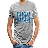 Men's Classic Tees Blue Fish Fossil Skeleton Pattern Short-Sleeve Crewneck Cotton T-Shirt XXL Gray