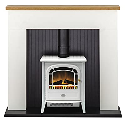 Adam Innsbruck Stove Suite in Pure White with Courchevel Electric Stove in White, 48 Inch