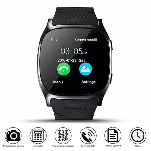 Smart Watch CoolFoxx CF02 Soporte Tarjeta SIM TF, Reloj de pulsera con cámara, Podómetro, Monitor de sueño, Notificador de sincronización de mensajes, Reproductor de música, sedentario para Android Samsung Huawei, HTC, ZTE (negro)