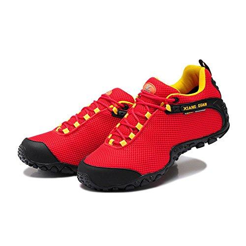 Xiang Guan Herren Mesh Atmungsaktiv Outdoorschuhe Trekkingschuhe Walkingschuhe Sport Camping Wandern Trail Schuhe Rot