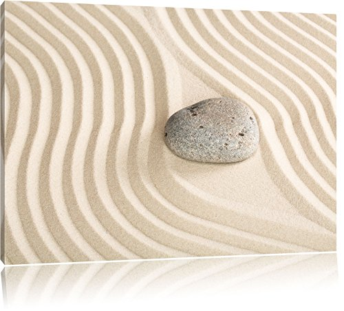 Steine in Sand mit Muster 100x70cm Bild auf Leinwand, XXL riesige Bilder fertig gerahmt mit Keilrahmen. Kunstdruck auf Wandbild mit Rahmen. Günstiger als Gemälde oder Ölbild, kein Poster oder Plakat. -