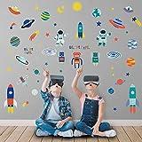 decalmile Stickers Muraux Univers Planètes Autocollant Mural Vaisseau Spatial Robot Astronaute Décoration Murale Chambre Enfants Salle Bébé Pépinière
