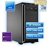 M&M Computer High End Silent Gaming PC, Intel i9-9900K CPU Eight-Core, GeForce RTX2080-8GB Gaming, 256GB SSD M.2 (NVMe), 16GB DDR4 3000MHz, Windows 10 Pro