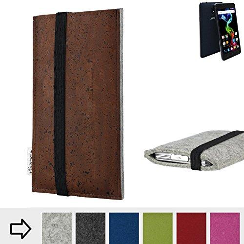 flat.design Handy Hülle Sintra für Archos 55b Platinum maßgefertigte Handytasche Filz Tasche Schutz Case braun Kork