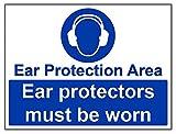 vsafety 41022bf-s Schutz- und Gehörschutz zu tragen Pflicht Schutzbekleidung Schild, selbstklebend, Landschaft, 400mm x 300mm, blau