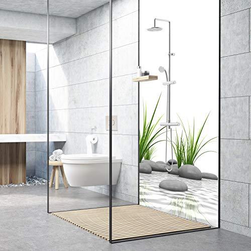 Zen-bad (dedeco Alu Duschrückwand mit Zen Motiv - 90x200 cm - Perfekt als Badrückwand zum Fliesenersatz, passend für viele Bäder als Dekorwand aus hochwertigem Aluminium - Made in Germany)