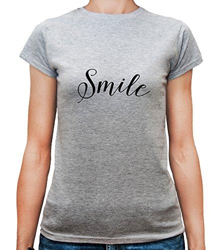 Mesdames T-Shirt avec Smile Slogan Phrase imprimé. Gris