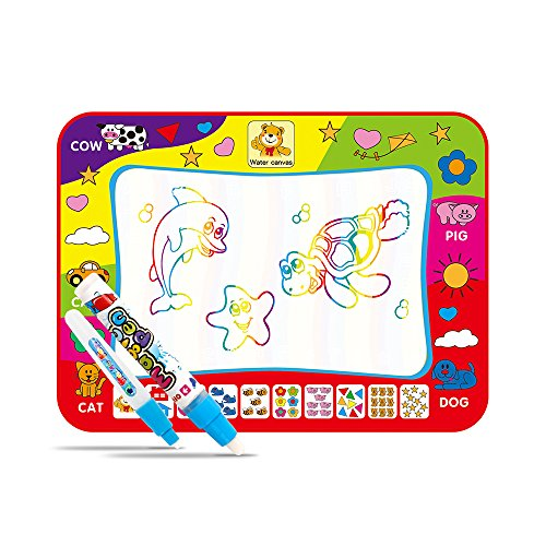 Magic Water Doodle Mat with Rainbow Color Swatches,Children Water Drawing Mat Board,Educational Toy Gift For Kids